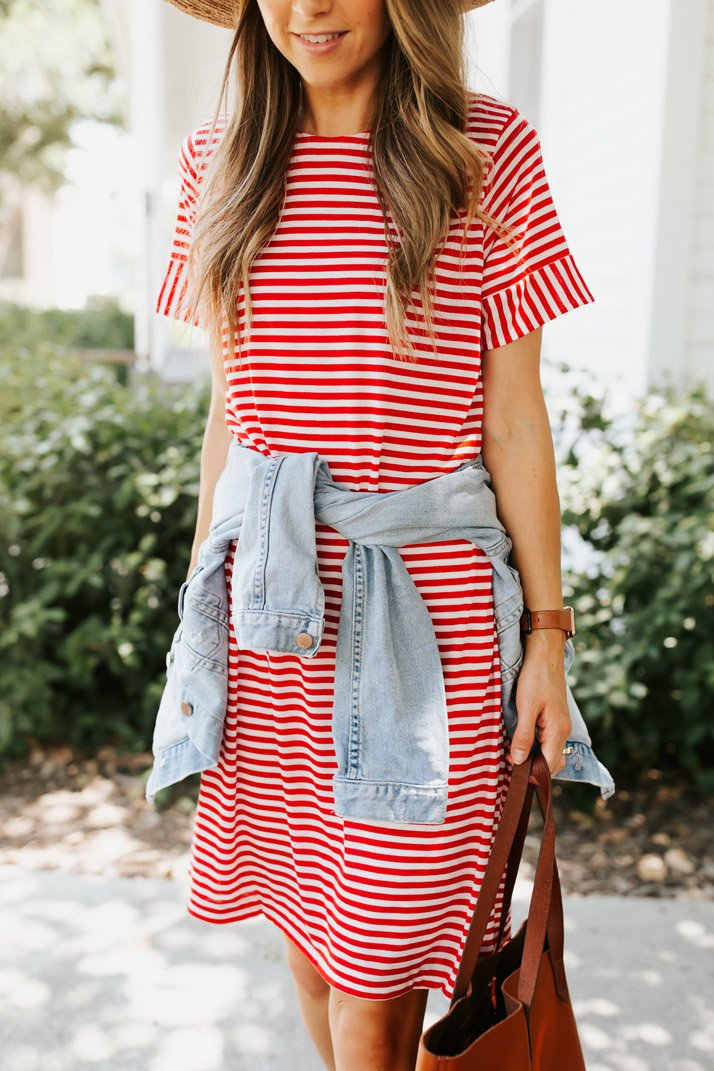 striped tshirt dress sewing project
