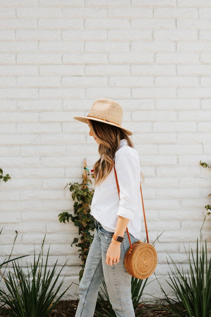 Add a round straw bag to your look for an instant summer vibe