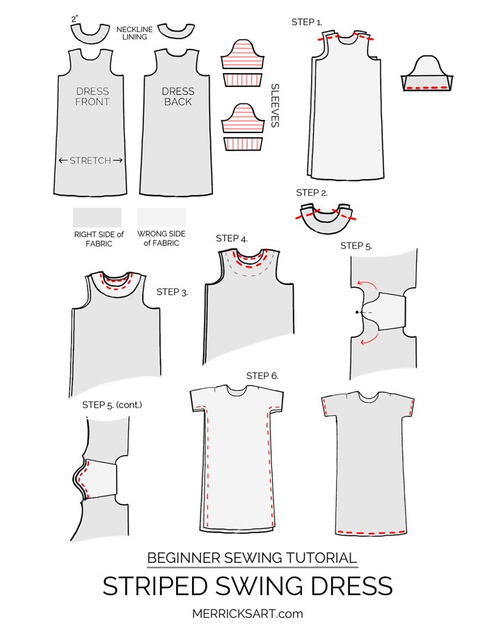 striped tshirt dress sewing tutorial
