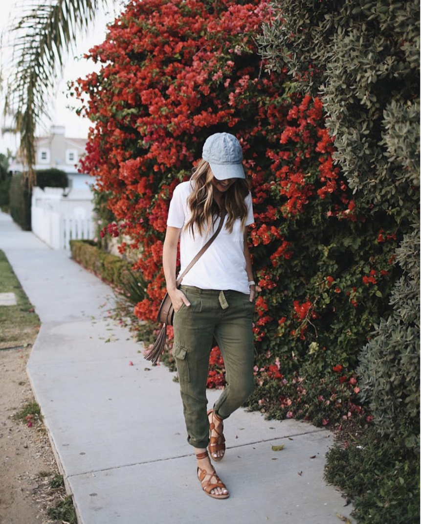 olive joggers and white tee