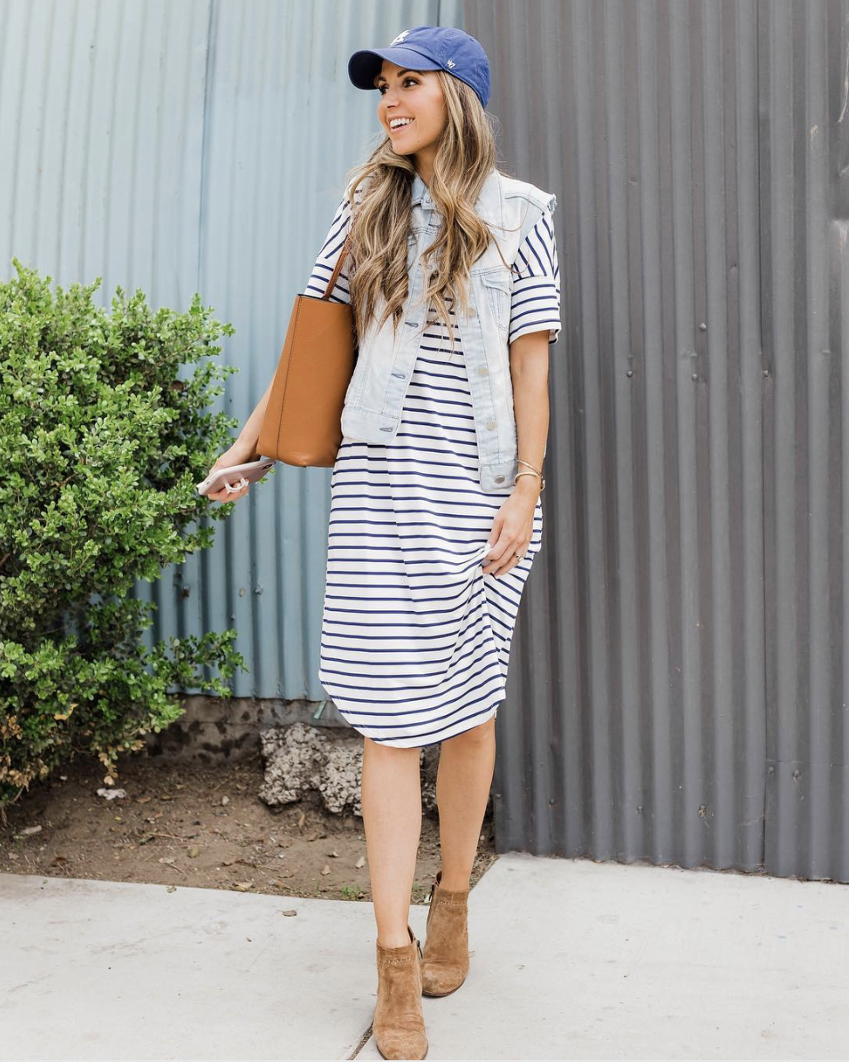 striped dress and denim vest