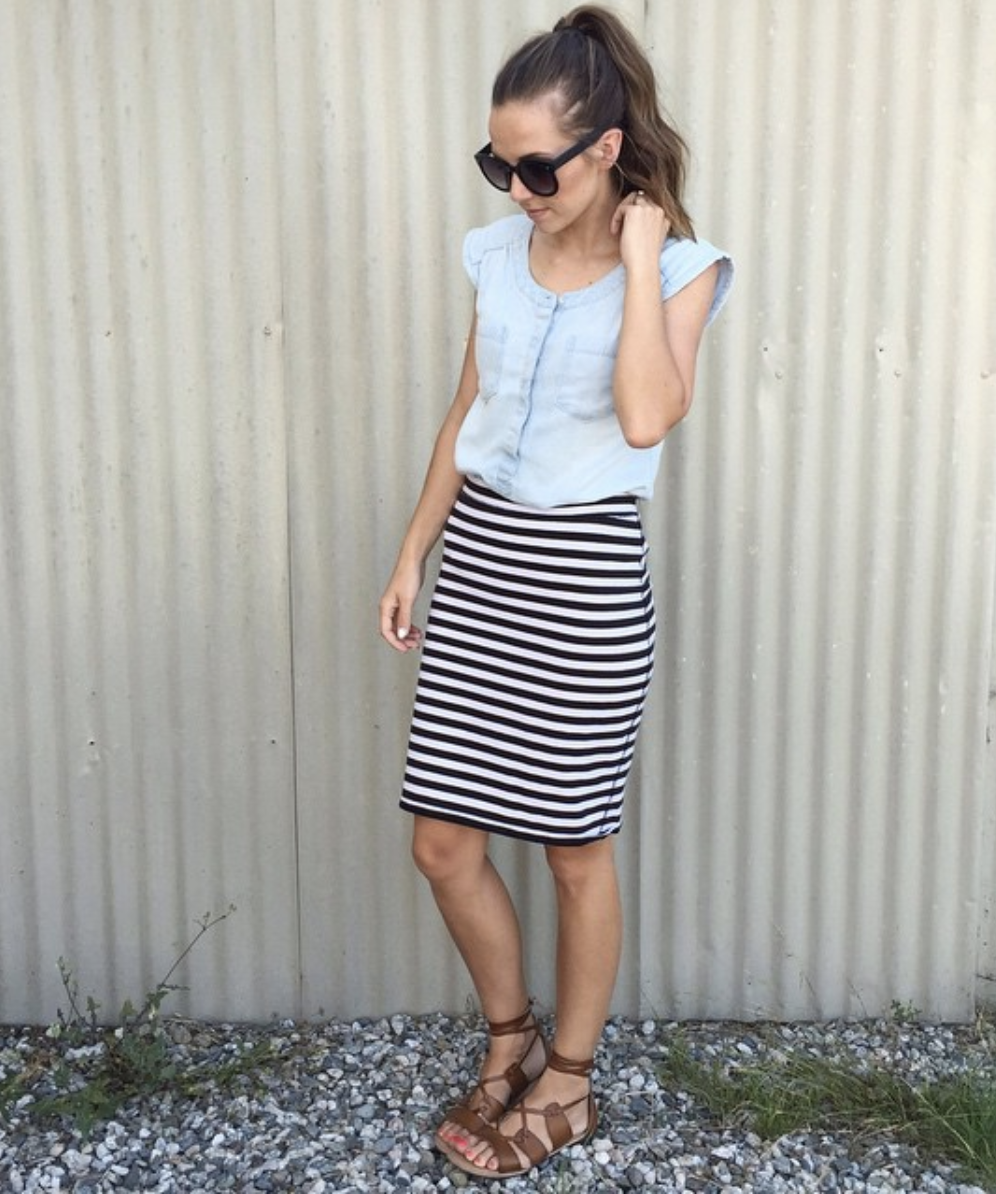 striped skirt and chambray top