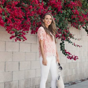white and blush for a cute date night outfit