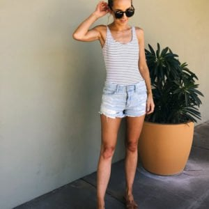 striped one piece swimsuit with denim shorts