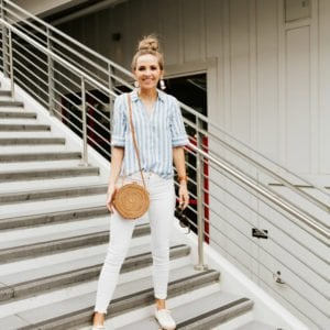 BlankNYC White Jeans and J.Crew Striped Button Down Shirt for a cute date night outfit
