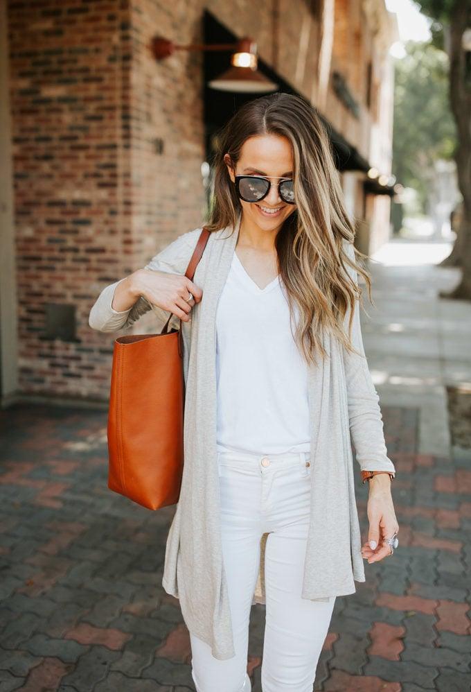 white jeans, white tee, oatmeal cardigan