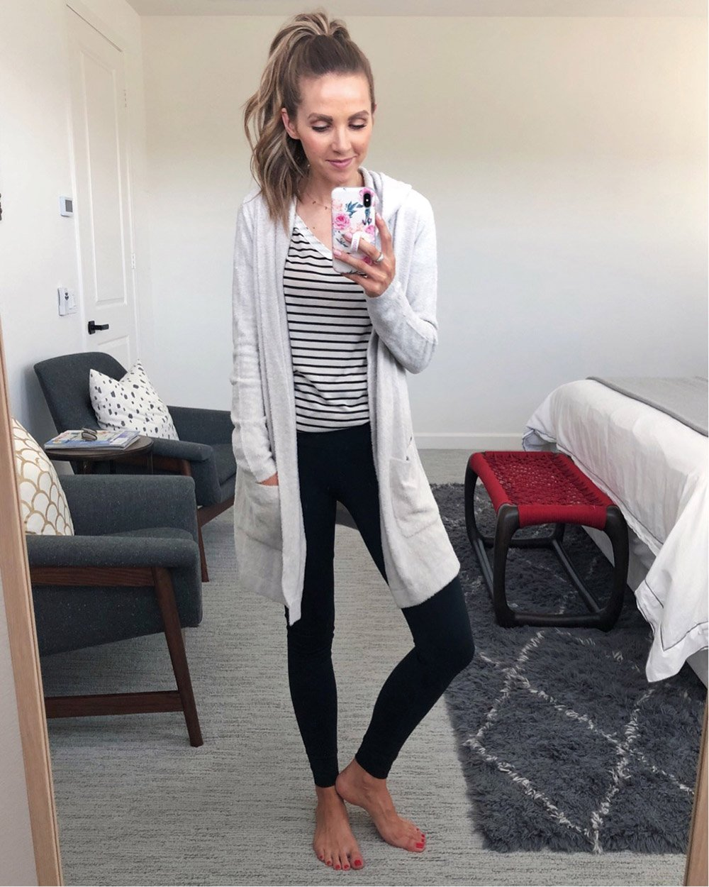 striped shirt and long cardigan