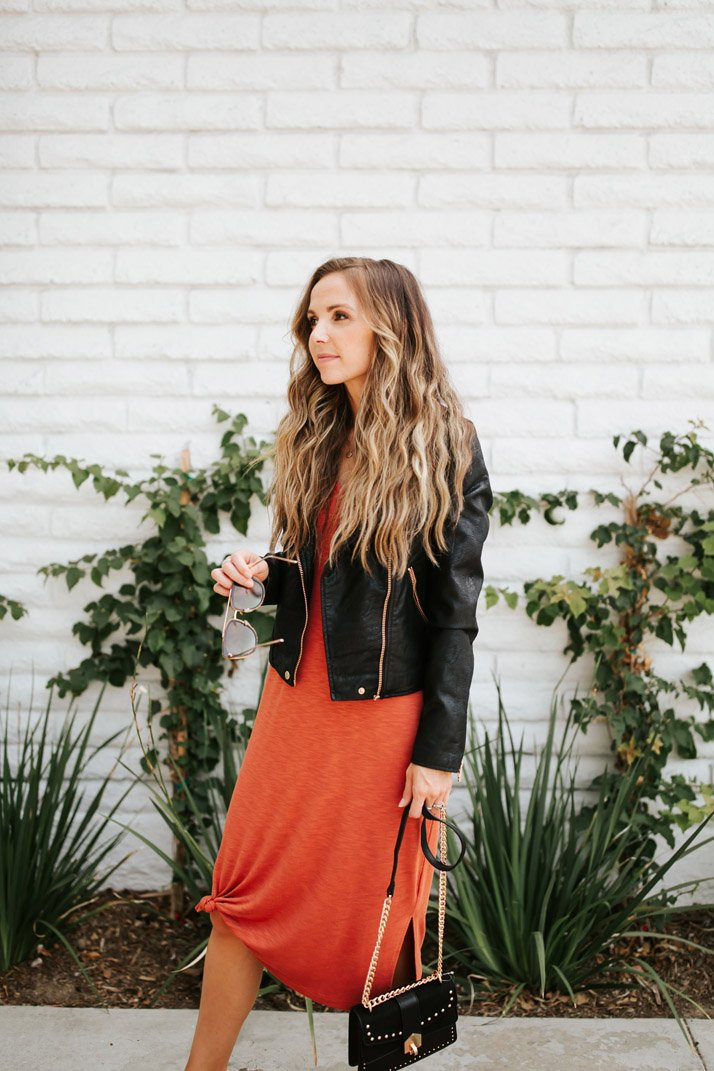 madewell dress with a black leather jacket