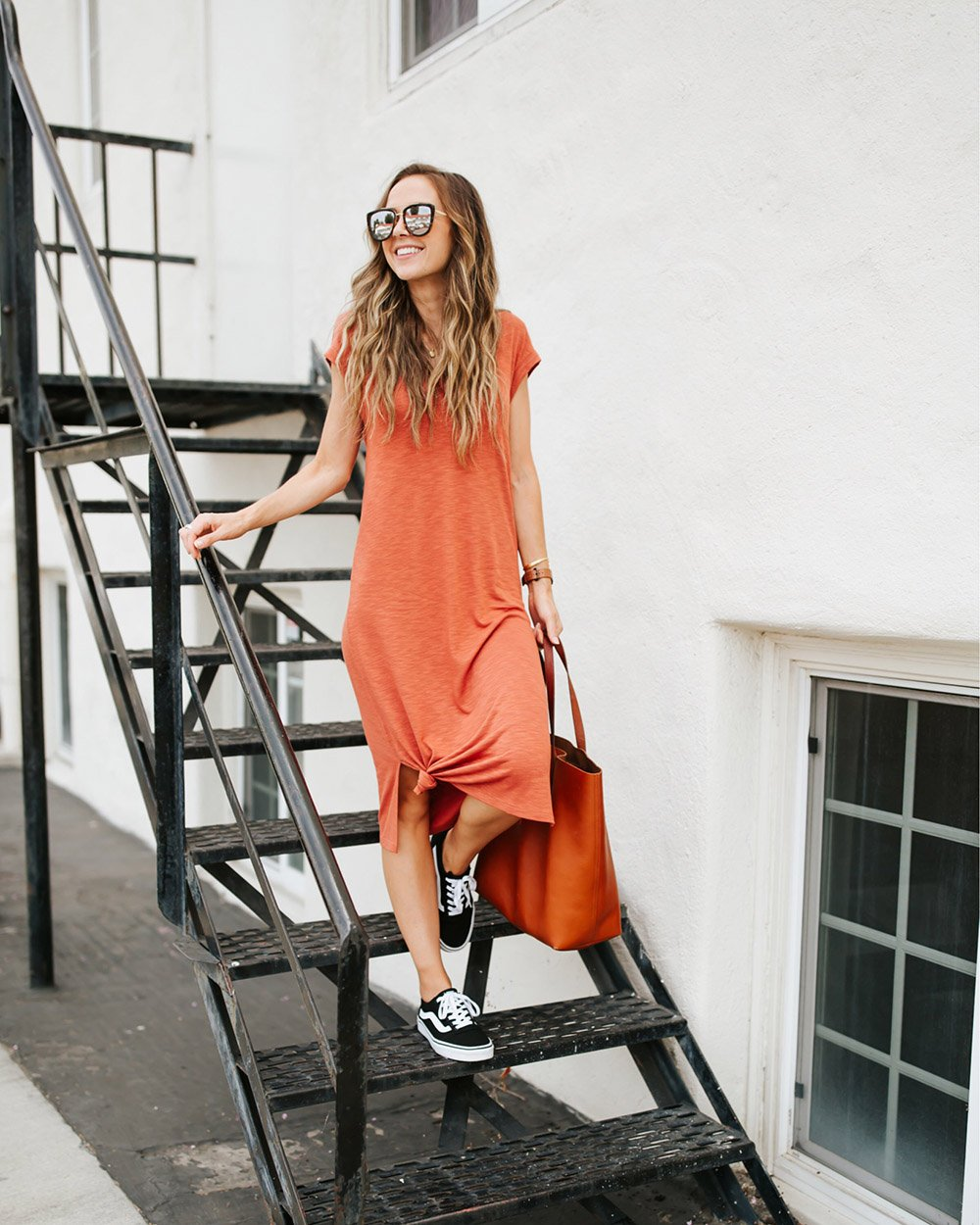 t-shirt dress with black vans