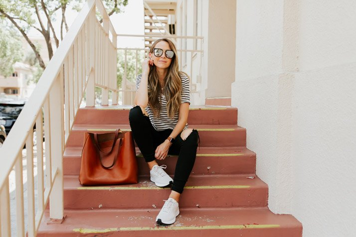a cute travel outfit with shoes comfortable for walking