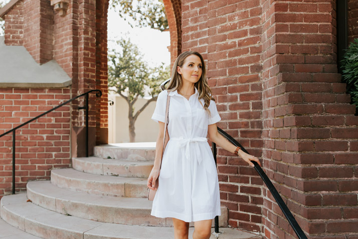 obsessed with this white shirt dress. Check out the shoes I wore with it!