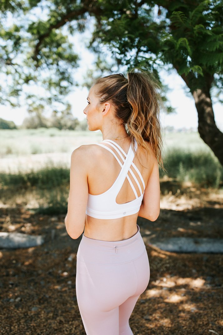 the best white sports bra that isn't sheer, has great support, and is so soft and comfortable