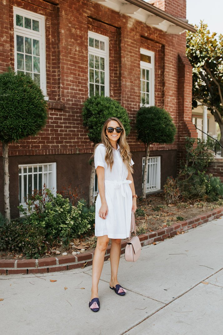 white shirt dress with tassel loafers