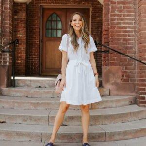 the prettiest little white shirt dress