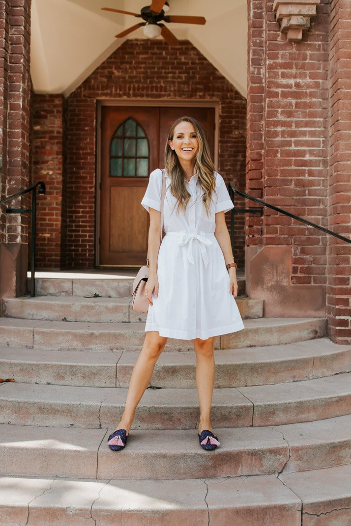 the prettiest little white shirt dress