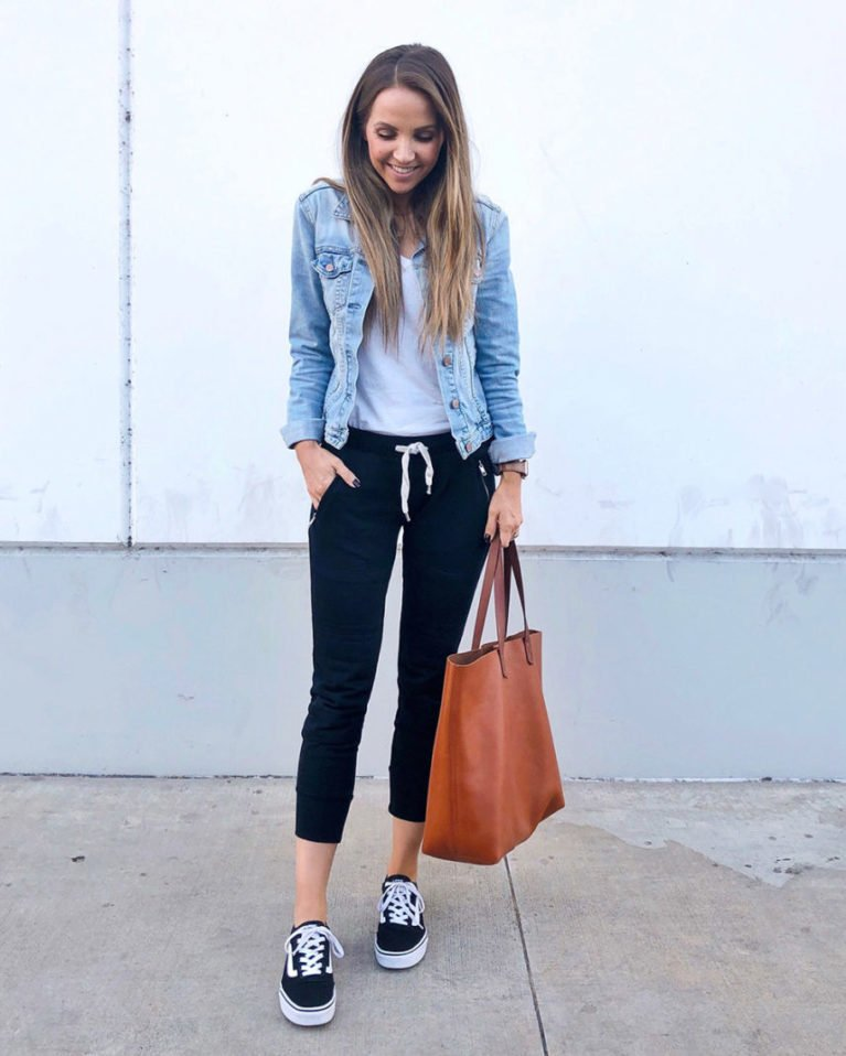 denim jacket and joggers
