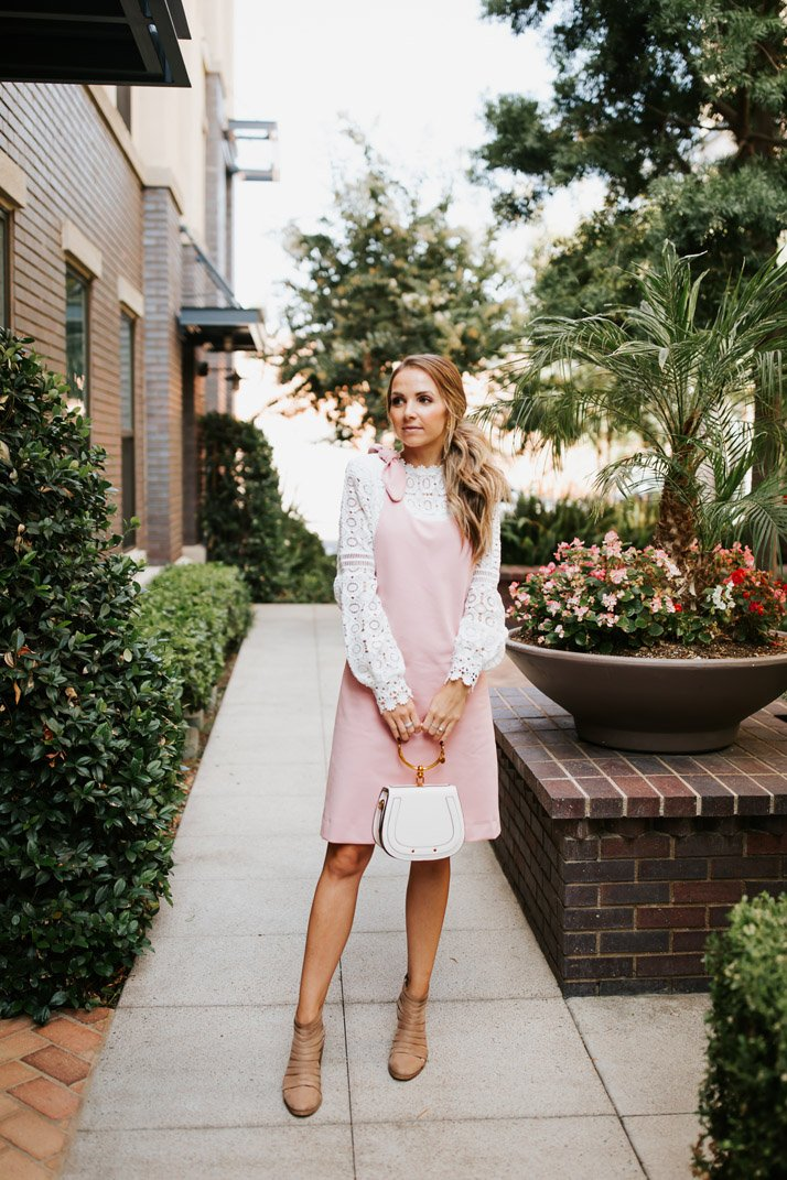 pink jumper dress with lace top