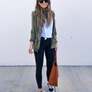 olive jacket and leggings
