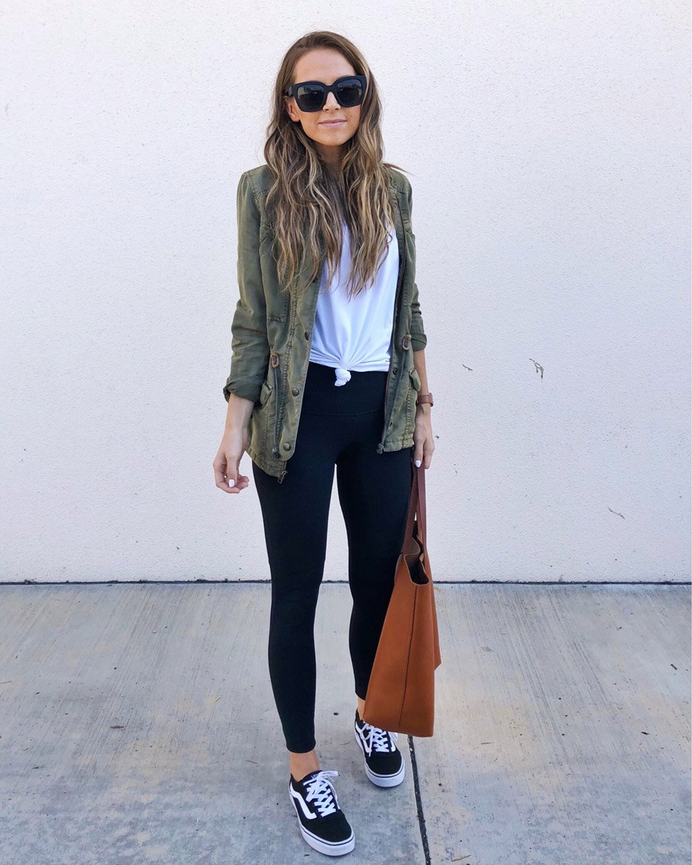 olive jacket and leggings