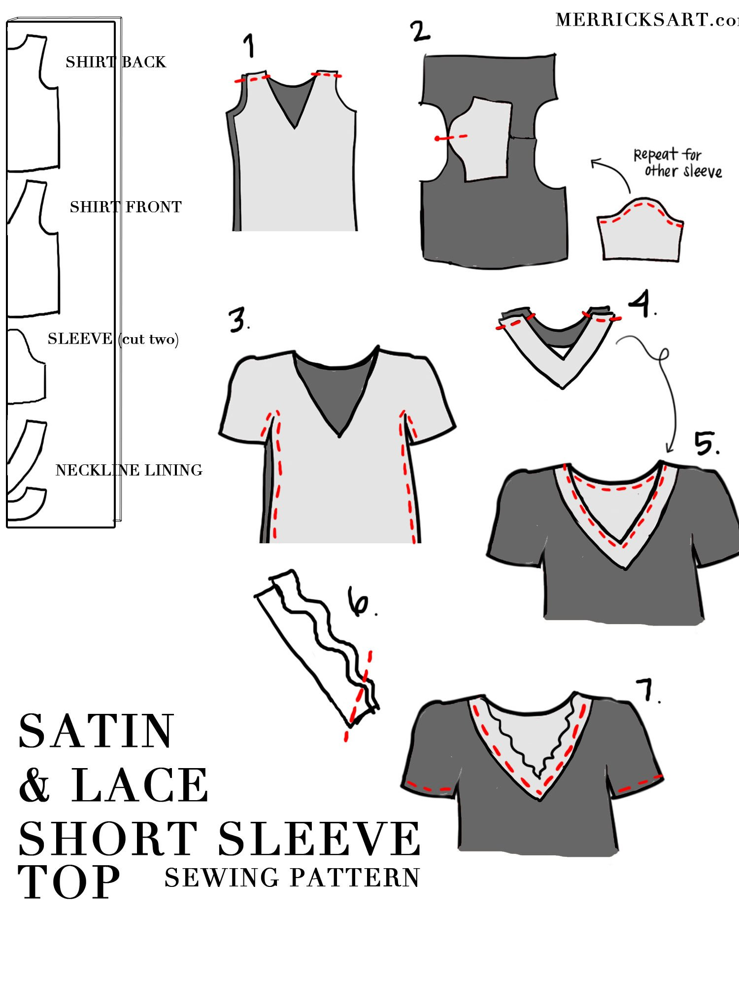 lace satin top sewing pattern