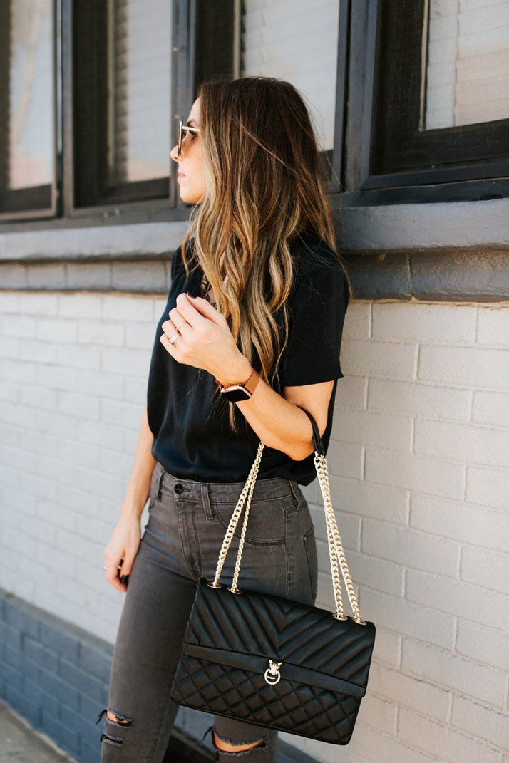 silk top sewing pattern with lace neckline black top and gray jeans
