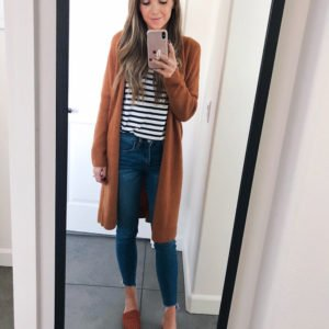 camel cardigan and striped tee