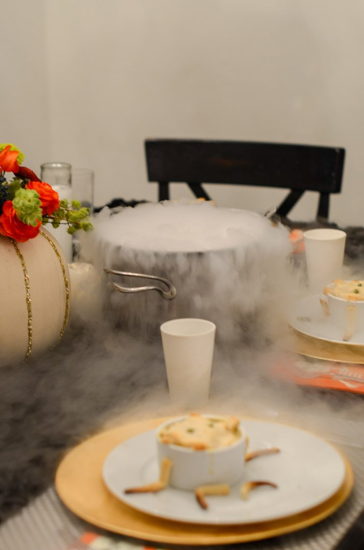 dry ice makes your halloween dinner fun and spooky!