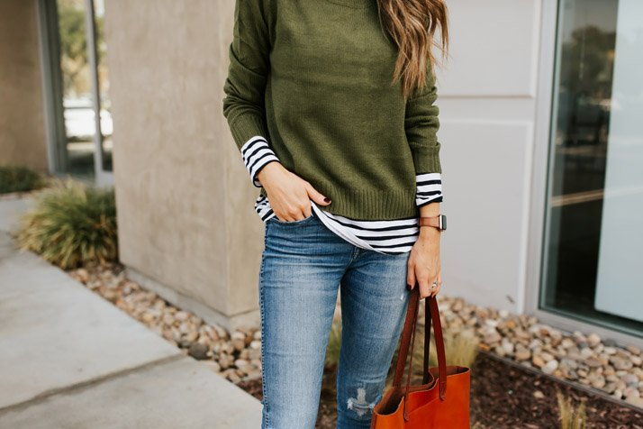 an easy layering idea with stripes and a sweater