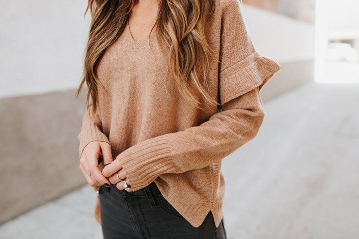 love this ruffle sleeve sweater