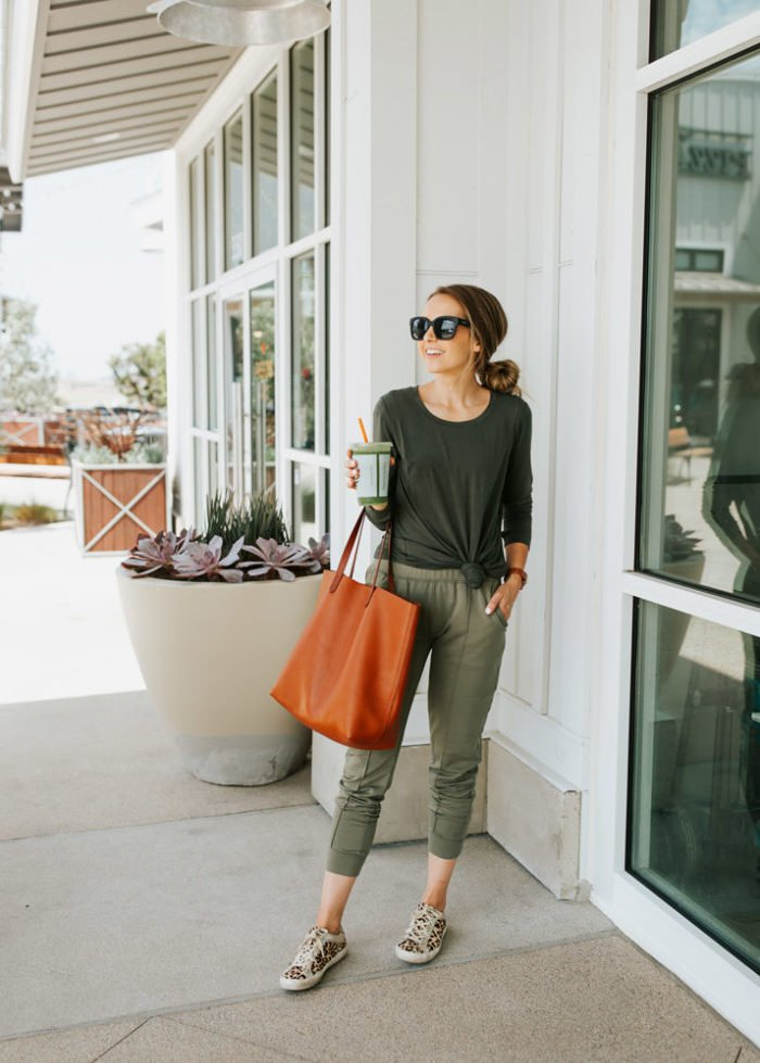 knotted tee and olive green joggers