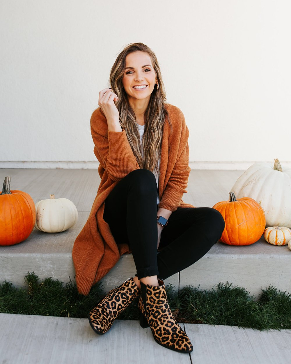 rust cardigan and leopard ankle boots