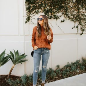 rust sweater with leopard boots