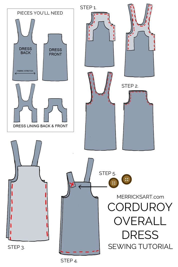 learn how to make this cute corduroy overall dress!