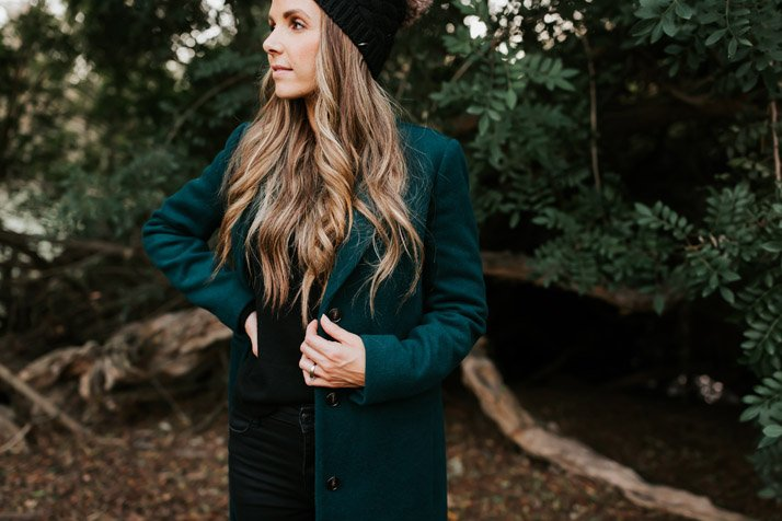 j.crew wool coat in deep green - found for a steal on ebay!