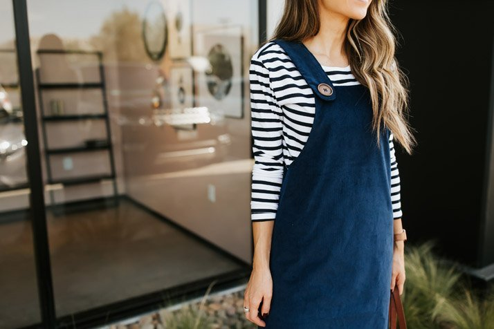 find out how to make this cute corduroy overall dress on MERRICKSART.com!