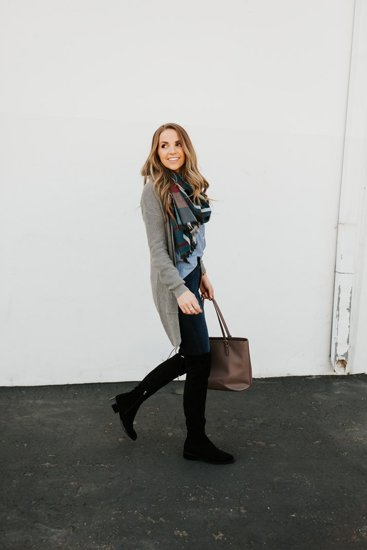 over the knee boots with scarf and cardigan