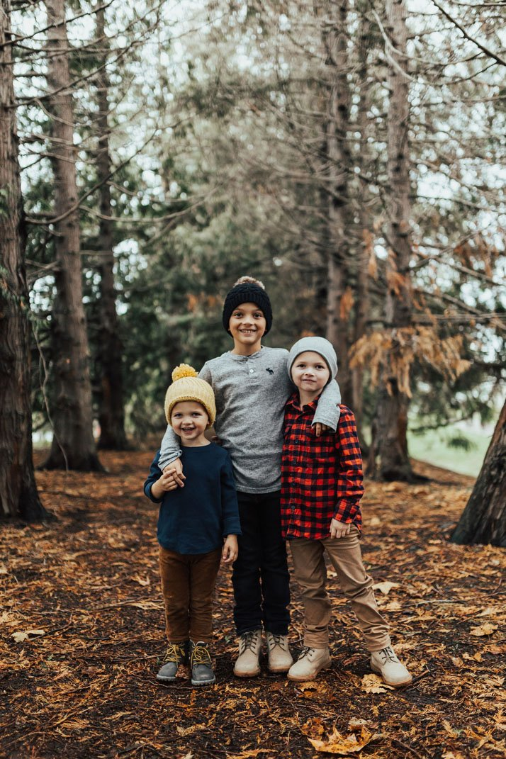 boys in winter clothes in Seattle Washington
