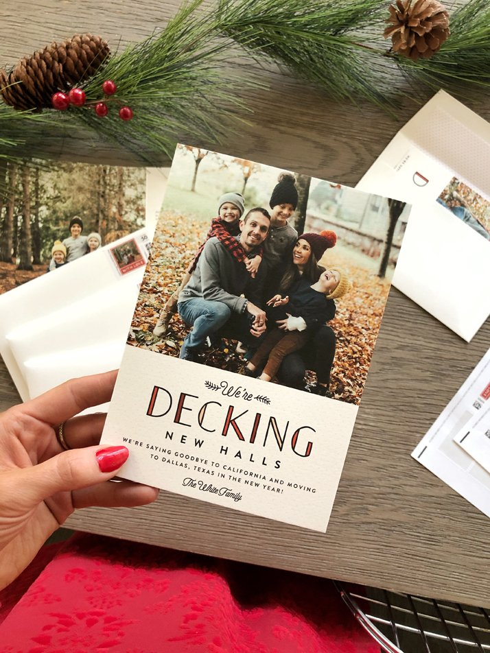 minted Christmas cards announcing our move to texas