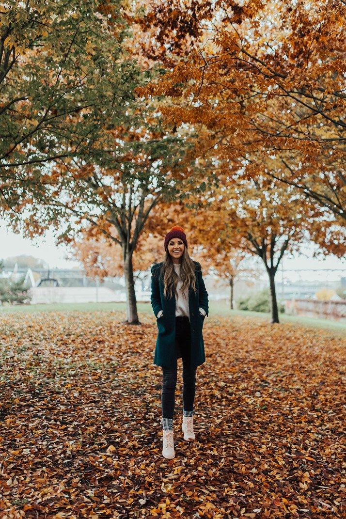 blush timberland boots, and fall leaves