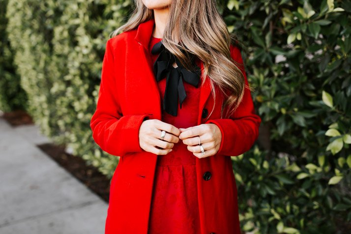 monochromatic red outfit