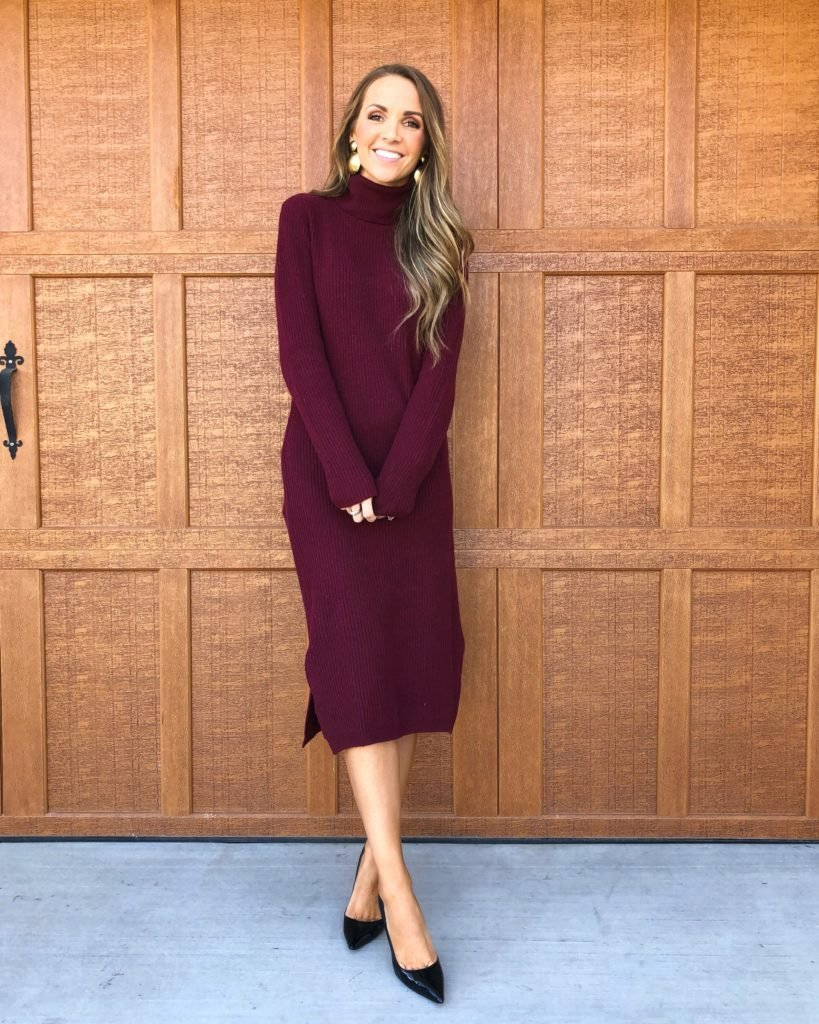 the cutest sweater dress with a turtleneck