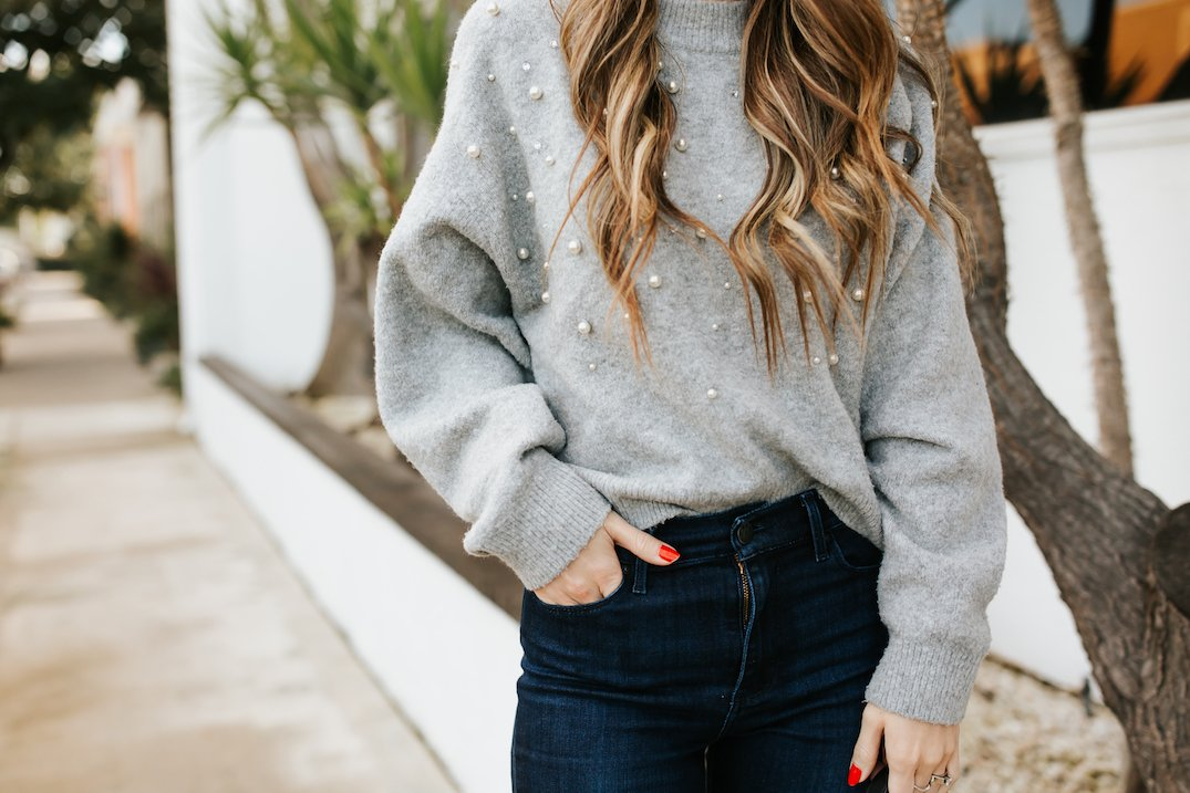 this gorgeous beaded sweater is under $40!
