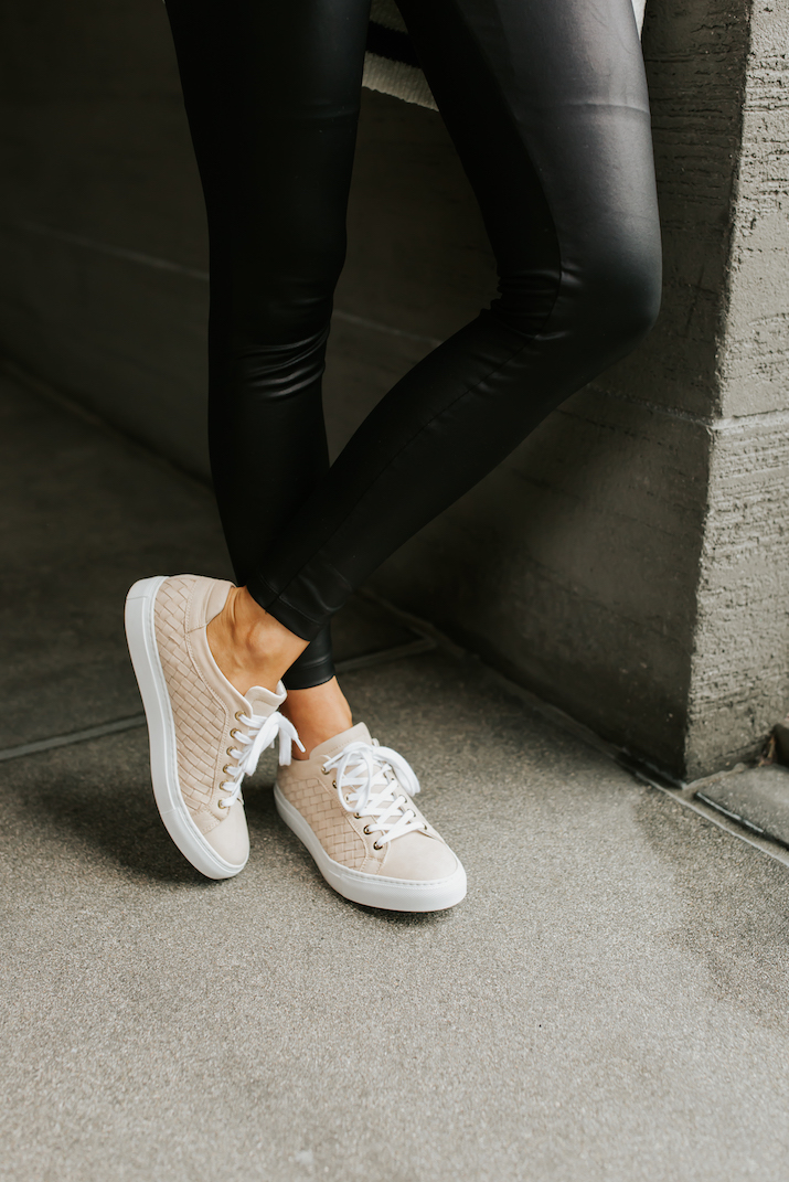 faux leather leggings and m.gemi sneakers