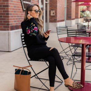 black embroidered sweater, black jeans and leopard loafers