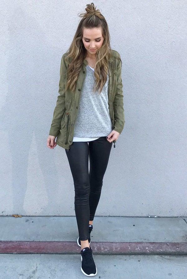 leather leggings and olive jacket