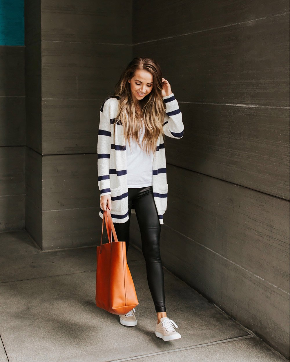 leather leggings with a striped cardigan