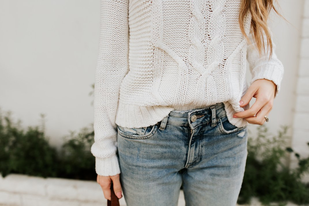 cable knit and light wash denim