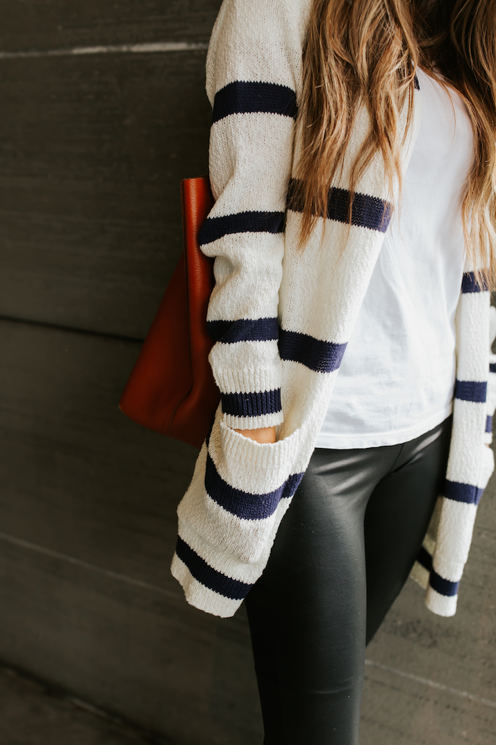 cozy striped cardigan and leather leggings