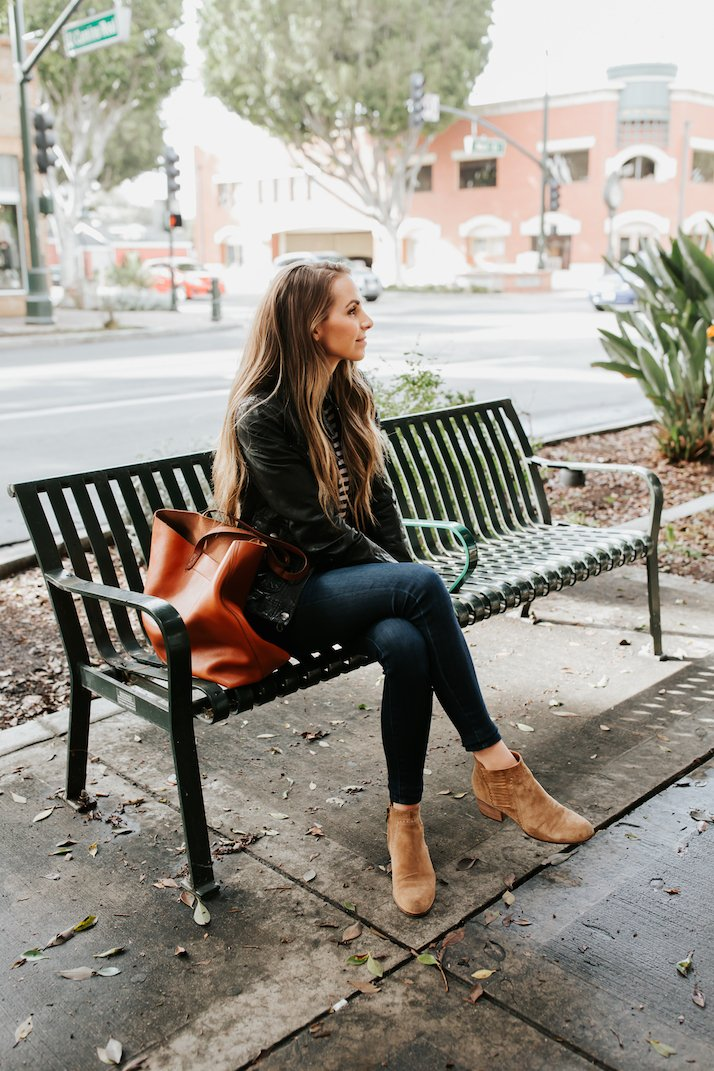 two easy to wear ankle boot outfits for winter to spring transition