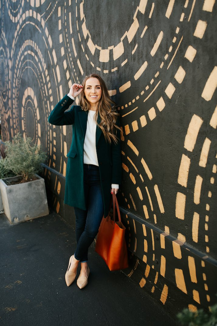 madewell leather tote and j.crew wool coat